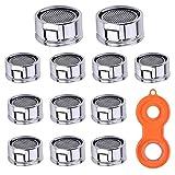 Aerator M24 faucet colador inserto, 12 piezas aireador para grifo, filtro de acero inoxida...