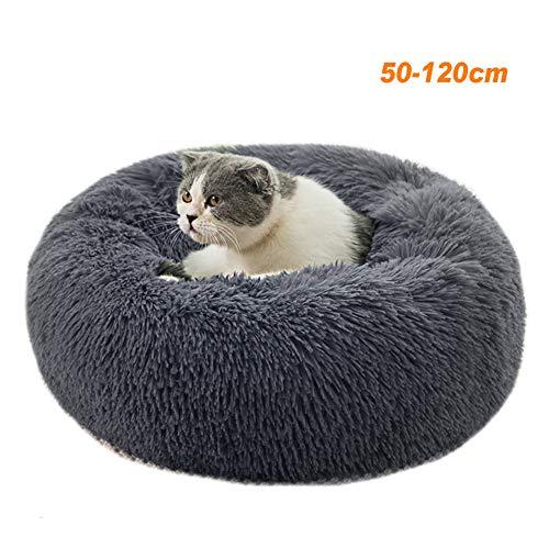 Round Deluxe Haustierbett für Hunde und Katzen, mit Reißverschluss, leicht zu entfernen und zu waschen, Kissen für Katzen/Hunde, 60 cm-120 cm / 5 Größen, Dunkelgrau, 90 cm