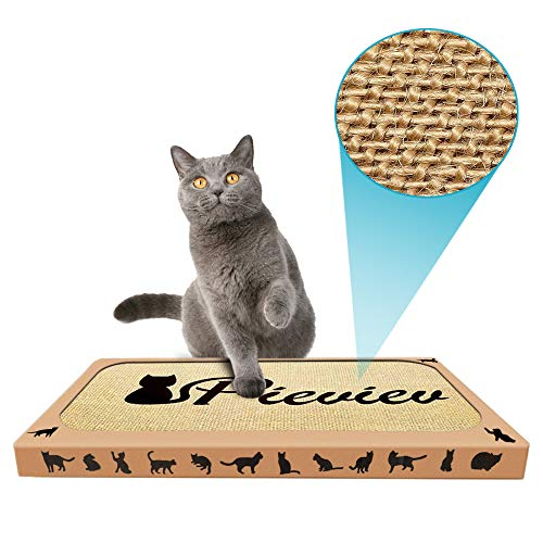 Pieviev Premium Cat Scratcher Cat Toys Sisal Cat Scratching Pad Extra Large No More Torn Cardborad Scattering Anti-Slip Backing & Catnip (1-Pack)