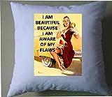 Pin Up Girl soy hermosa porque soy consciente de mis defectos Inspirational Quote Retro Shabby Chic ...