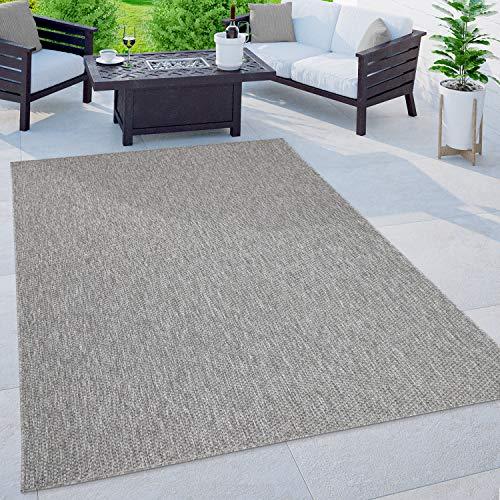 Paco Home In-& Outdoor Teppich Balkon Terrasse Küchenteppich Einfarbig Meliertes Muster, Grösse:150 cm Quadrat, Farbe:Grau