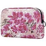 Bolsa de cosméticos Bolsa de Maquillaje Impermeable para Mujer para Viajar para Llevar cosméticos, Cambiar Llaves, etc.Patrón de Papel Tapiz Transparente en orzuelo Floral