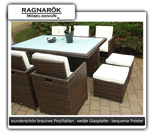 Ragnarök-Möbeldesign PolyRattan Essgruppe DEUTSCHE Marke - EIGNENE Produktion Tisch + 6 Stuhl & 4 Hocker - 8 Jahre GARANTIE - Garten Möbel incl. Glas und Sitzkissen braun Gartenmöbel - 7