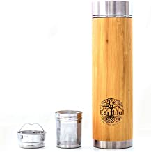 Natural Bamboo Bottle (500ml) with removable Tea Infuser - Stylish Thermo Flask for all beverages - Pure Bamboo & 304 Stainless steel - Double Walled Insulated - Eco Friendly Gift - Leak Proof