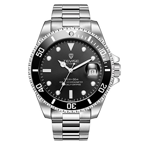 Swiss Luminous Submariner Watch Men's Mechanical Watch Fashion Steel Waterproof Watch (Silver - Black)