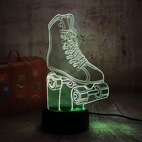 Nuovo Sports Skates 7 Mixed Double Color Cartoon 3D Led Night Light Control remoto Boy Gift para la decoración del hogar Nueva lámpara de escritorio