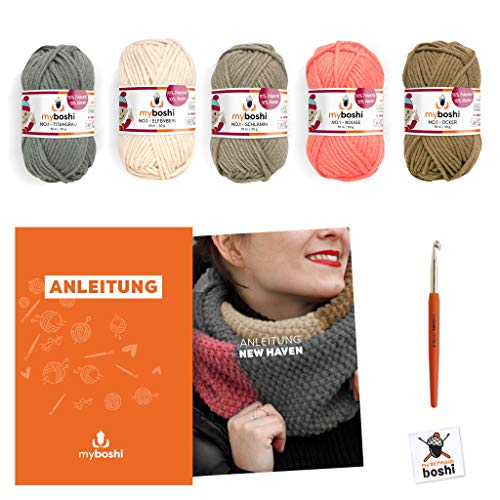 myboshi Strick-Set Schal New Haven | aus No.1 | Anleitung + Wolle | mit passender Stricknadel | Strick-Schal-Set | Titangrau Elfenbein Schlamm Rouge Ocker