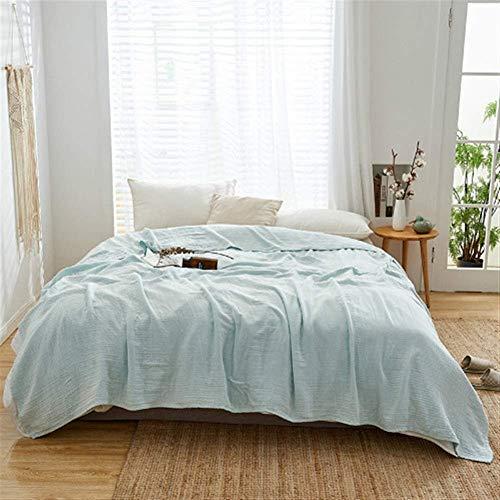AHJSN Soft Lightweight 3 Lagen Cotton Musselin Adult Throw Blankets Summer Thin Quilt Bettwäsche Bettdecke 150x200cm 200x220cm (Farbe: Hellblau, Größe: 200x220cm) 200x220cm Hellgrün