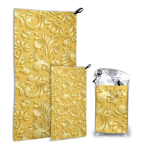 Lsjuee Fast Quick Dry ?¤ Ultra Compact ?¤ Lightweight,Abstract Floral 3D Golden Microfiber Towels - Gym Travel Camp Back