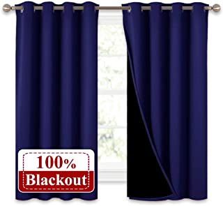 NICETOWN 100% Blackout Curtain Panels, Thermal Insulated Black Liner Curtains for Nursery Room, Noise Reducing and Heat Blocking Drapes for Windows (Dark Blue, Set of 2, 52-inch Wide by 63-inch Long)