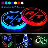 Weill 2pcs LED Cup Holder Lights for Dodge RT R/T Challenger Charger Avenger Durango Etc, LED Car Coasterss with 7 Colors Luminescent Light Cup Pad, USB Charging Cup Mat Accessories (forR/T)