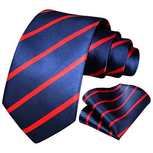 HISDERN Panuelo de lazo a rayas de boda Panuelo de hombre y conjunto de bolsillo de cuadrada Rojo/azul marino