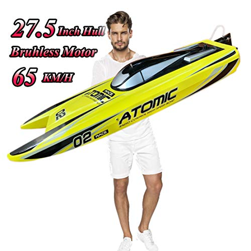 27.6-Inches Remote Control High Speed Racing Boat S011 Oversized Electric RC Boat Top Speed 65KM/H Brushless Motor Excellent Functions for Hobbies Player Adult Boys Age 14+ Randomly color shipped