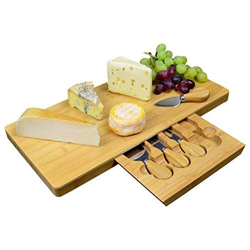 Tagliere per formaggi grande, in bambù, con speciale scomparto integrato per posate