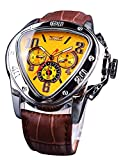 Jaragar Automatic Mechanical Wrist Watch Golden for Mens Watches with Leather Band Sport Mechanical Watches Triangle Bezel Design Fashion Yellow Dial