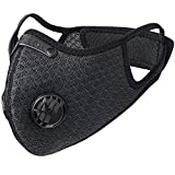 HASAGEI Sports Dust Mask Reusable Half Face Mask with Activated Carbon Dustproof Filters and Valves Respirators Mask for Running Mountain Bike Cycling Motorcycle Training Masks (Black)