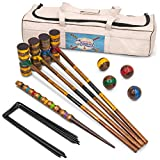 Vintage Wood Premium Croquet Set | 4-player Outdoor Backyard Family Game |...