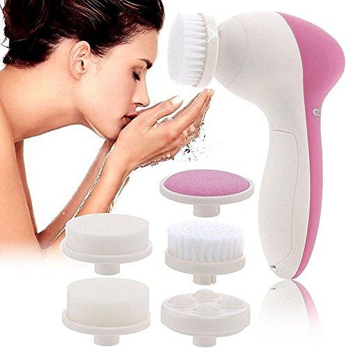 Brosse pour visage 5 en 1 - exfolier la peau pour nettoyage et massage - brosses différentes pour nettoyage et massage aux personnes allergiques, aux peaux sensibles