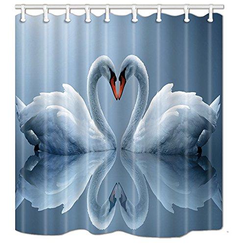 NYMB Duschvorhang-Set mit weißen Schwänen & Herzen, 174 x 178 cm, schimmelresistent, Polyester, fantastische Dekoration