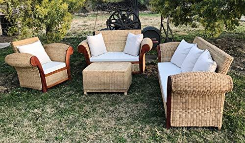 Conjunto Queen para 6 Personas. De ratán Natural Trenzado. Compuesto por 3 Piezas; 1 sofá Individual, 1 sofá Doble y 1 sofá Triple.