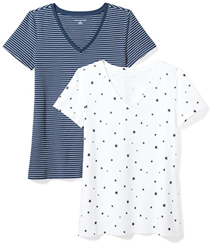 Amazon Essentials Women's 2-Pack Classic-Fit Short-Sleeve V-Neck Patterned T-Shirt, Navy Stripe/Star Print, Small