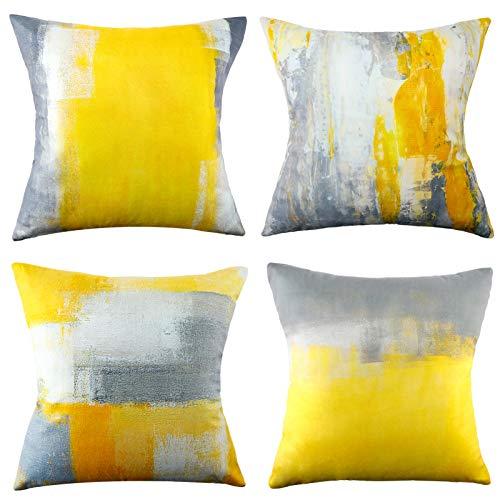 MAIXUN Kissenbezug Farbe Gelb und Grau Abstrakt Werfen Kissenbezüge 18x18 Kissenbezüge Dekorative Kissen für Wohnzimmer Schlafzimmer Gelb Abstrakt Dekorative Couchkissen 4er Set