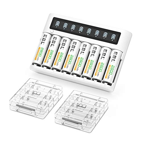 EBL Cargador de batería de LCD 8 Ranuras con batería AA Recargable Ni-MH 2800mAh 8pcs