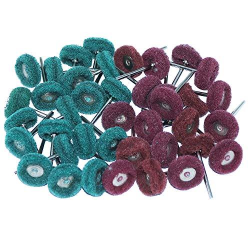 JINTONG 2色繊維バフ 40個入り ホイール ナイロン 布ブラシホイール 混合色2種 セット 研磨 剤 電動 ドリル ルーター ビット (各20本40本セット) (2.35mm)