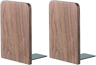 muso wood Book Ends for Shelves,Decorative Bookends Stand,Non-Skid Bookends to Hold Heavy Book(Walnut)