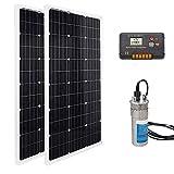IGOSAIT 12V / 24V sumergible solar de acero inoxidable profundo Bomba de agua + Panel y bomba de agua solar for la fuente de agua y panel de 120W 240W (Color : 24V water pump kit)