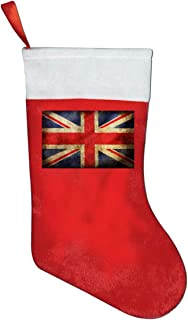 A19SDW Christmas Stockings Vintage Union Jack Interesting Christmas Stocking 16.5 in Red and White Felt,for Family Holiday Xmas Halloween Party Decorations,for Kids,Teens,Adults