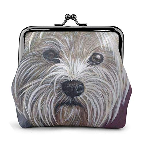 Trista Bauer West Highland White Terrier Dog Purple Themed Vintage Pouch Girl Kiss-Lock Monedero Monedero Monederos Hebilla Monederos de Cuero Llavero Mujer Impreso Novedad Mini