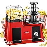 TIBEK Macchina per Pop Corn, Ad Aria Calda Popcorn Machine Senza Olio e Grassi, 1200W con Pentola Antiaderente, Misurino e Bocca Larga, Include Fontana di Cioccolato