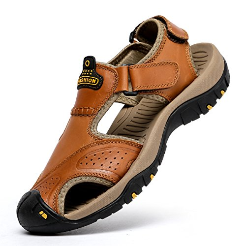 BINSHUN Sandals for Men Leather Hiking Sandals Athletic Walking Sports Fisherman Beach Shoes Closed Toe Water Sandals Brown