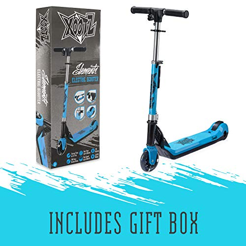 Xootz Kids Electric Scooter Folding with LED Light Up Wheel and Collapsible Handlebars, Element, Blue
