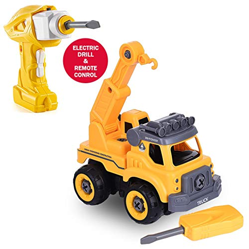 【USA Stock】 DIY Crane Take Apart Toys with Electric Drill,Converts to Fire Truck Remote Control Car,Construction Trucks Toys for Boys Girls Kids (Yellow)