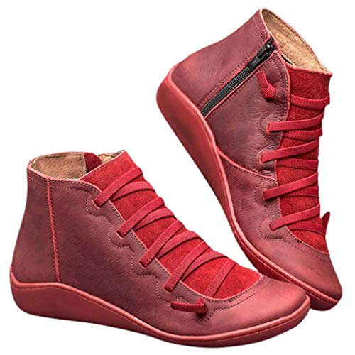 AODONG Women s Flat Bottom Ankle Booties Retro Comfy Non Slip Sporty Sneakers Waterproof Closed Toe Fall Warm Outdoor Western Shoes Red