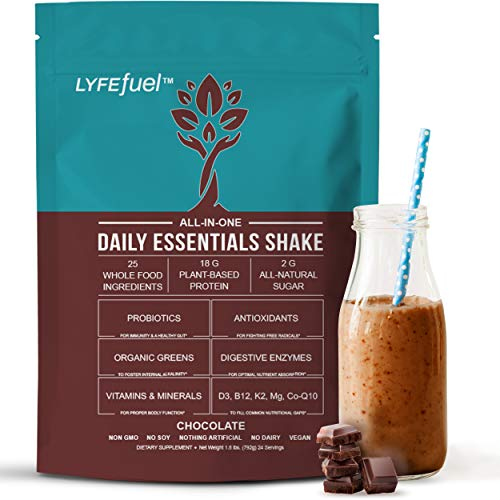Plant Based Meal Replacement Shakes by LYFE Fuel Essential Nutrients + Vegan Protein for Weight Loss & Energy A Complete Low Carb Breakfast for Men & Women Dairy-Free, Keto, 24 Chocolate Meals