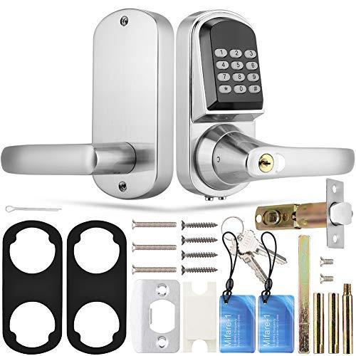 Zyyini Digitaal deurslot, wachtwoord, mechanische sleutel, RFID-kaart, intelligent deurslot, diefstalbeveiligingsslot met omkeerbaar handvat voor de woning