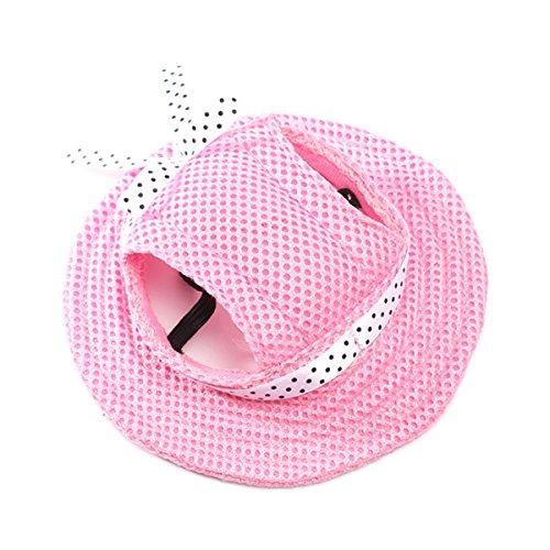 UEETEK Perro de animal doméstico malla porosa gorra sombrero sombrero con agujeros de oreja para perros pequeños - tamaño M (rosa)