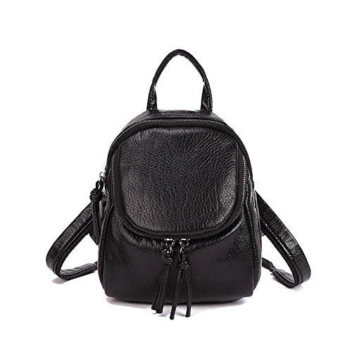 fairysan da donna tempo libero in pelle piccolo zaino scuola borsa da viaggio borsa borsa a tracolla petto pack nero black small