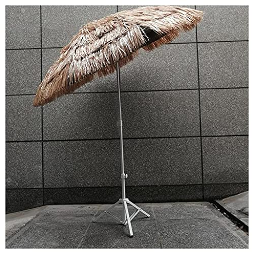Bktmen Parasol de Paja con Base, Parasol Hawaiano de 160 cm con función de inclinación, Tiki Parasol para jardín Playa Party Decoration