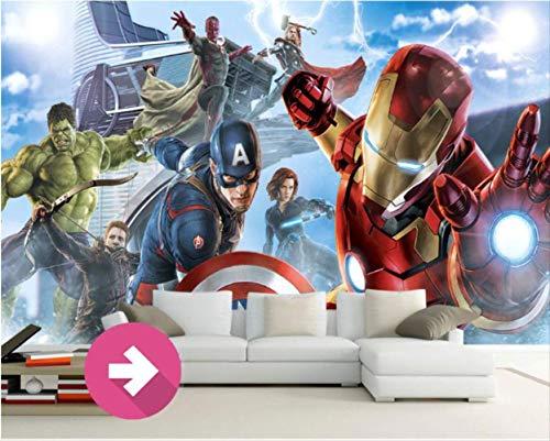 Carta Da Parati Murale Avengers Foto Carta Da Parati Marvel Hd 3d Parlor Animazione Eroe Supereroe Iron Man Spider-man Thor Cartone Animato Murale Ragazzo Bar Ristorante Camera Da Letto Soggiorno Desi