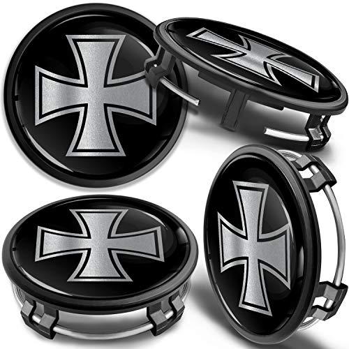 SkinoEu 4 x 75mm Tapas de Rueda de Centro Centrales Llantas Aluminio Compatibles con Tapacubos Mercedes Benz B66470207 / B66470200 Negro Plata Cruz de Hierro CM 32