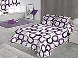 SABANALIA - Colcha Aros (Disponible en Varios tamaños y Colores), Cama 135-230 x 280, Lila