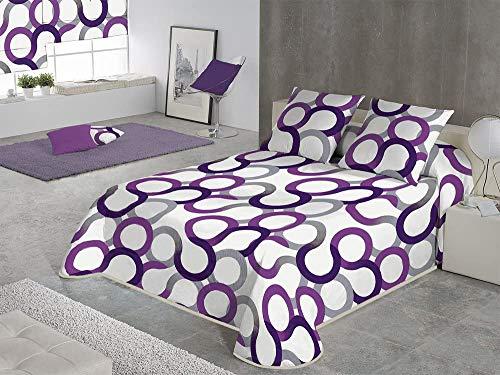 SABANALIA - Colcha Aros (Disponible en Varios tamaños y Colores), Cama 150-250 x 280, Lila