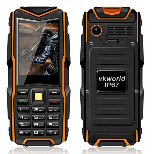 VKworld Pietra V3 IP67 Impermeabile Antiurto Antipolvere Cellulare Power Bank Lungo Standby All'Aperto Esercito 5200mAh 64MB di RAM + 64MB ROM GSM Rete - Arancio
