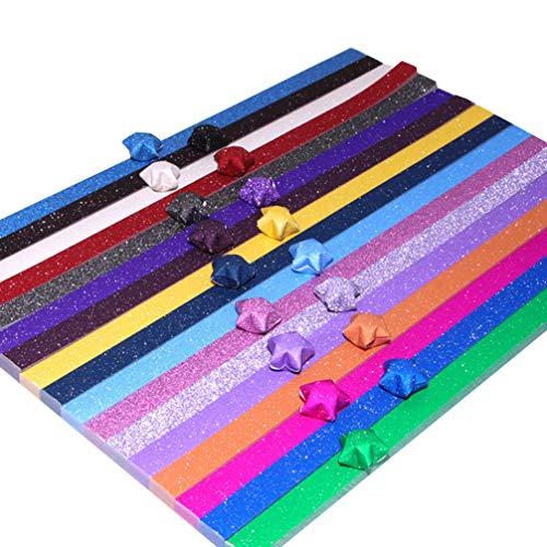 Tomaibaby Lucky Star Paper Origami Stars Paquete de Papeles Papel de Bricolaje Colorido Star Making Paper Plegado Origami Star Tiras de Papel para Manualidades Niños (400 Piezas Color Mixto)