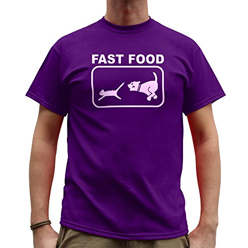 Nutees Fast Food Dog Chasing Cat Funny Hommes T Shirt - Violet Small