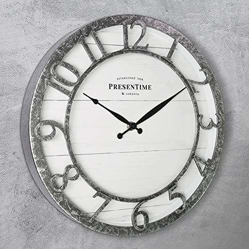 "PresenTime & Co 13"" Farmhouse Series Wall Clock, Quartz Movement, Shiplap Style,Raised 3D Arabic Numeral, Galvanized Finish"